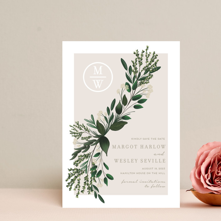 """""""Watermark"""" - Save The Date Petite Cards in Taupe by Kaydi Bishop."""