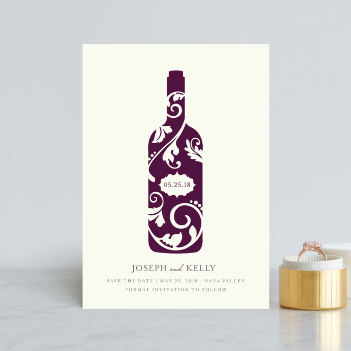 """""""Vineyard Silhouette"""" - Save The Date Petite Cards in Burgundy by Kristen Smith."""