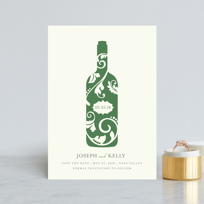 """Vineyard Silhouette"" - Save The Date Petite Cards in Emerald by Kristen Smith."