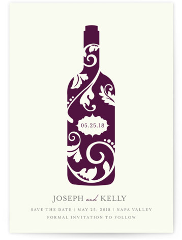 This is a portrait offbeat, purple Save the Dates by Kristen Smith called Vineyard Silhouette with Standard printing on Signature in Petite Flat Card format.