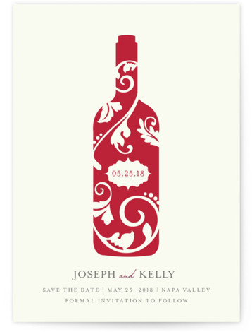 This is a portrait offbeat, red Save the Dates by Kristen Smith called Vineyard Silhouette with Standard printing on Signature in Petite Fold Over (Message Inside) format.