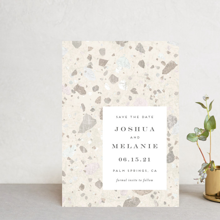 """""""Terrazzo"""" - Modern Save The Date Petite Cards in stone by Amy Payne."""