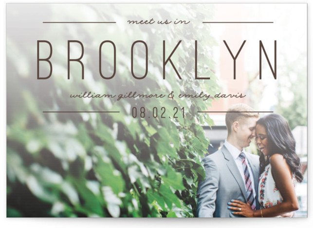 This is a landscape, portrait bold and typographic, brown Save the Dates by Pixel and Hank called Meet Us with Standard printing on Smooth Signature in Petite Flat Card format. Simple type highlight your destination event.