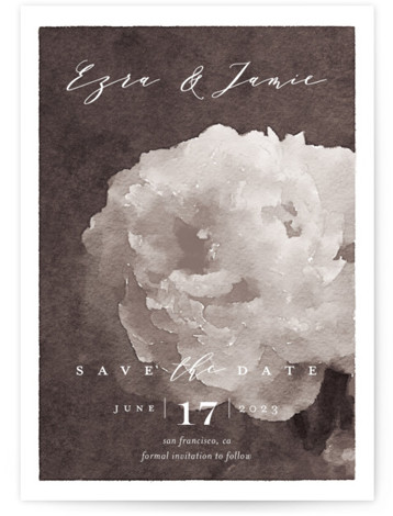 This is a portrait botanical, grey Save the Dates by Eric Clegg called Peony with Standard printing on Signature in Petite Flat Card format. This Save the Date card features an elegant watercolor floral background and a handwritten script.