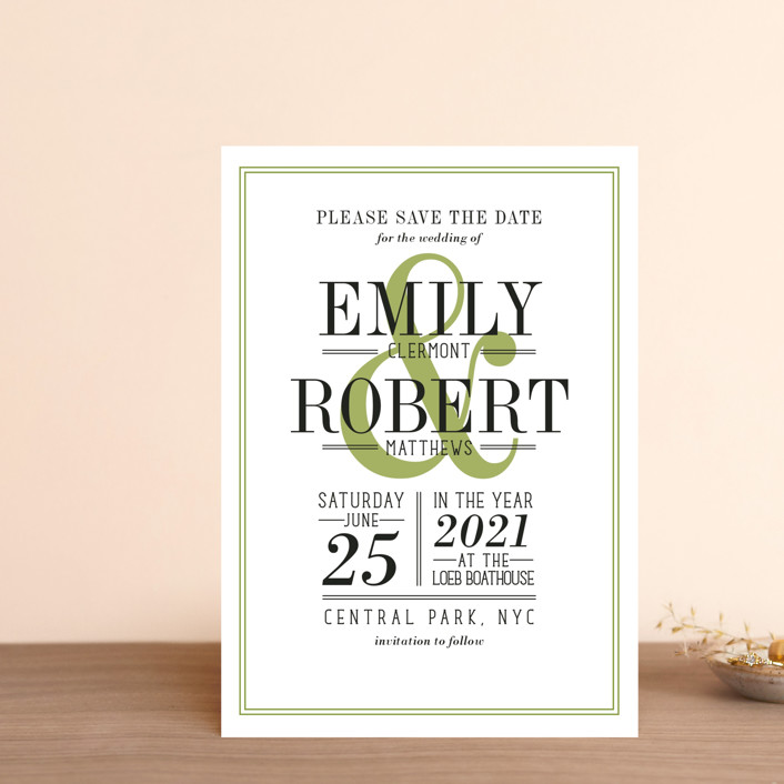 """""""Wed in Type"""" - Save The Date Petite Cards in Moss by Ariel Rutland."""