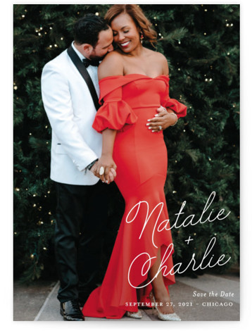 This is a classic and formal, white Save the Dates by Kaydi Bishop called Namely with Standard printing on Smooth Signature in Petite Flat Card format. A playful yet sophisticated script showcases the couples names on this full photo save ...