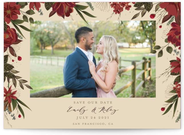 This is a botanical, floral, red Save the Dates by Susan Moyal called Floral Canopy with Standard printing on Smooth Signature in Petite Flat Card format. Flowers and greenery surround the photo