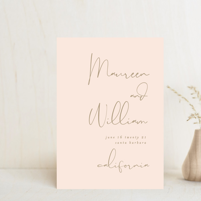 """A few words"" - Modern Save The Date Petite Cards in Blush by Susan Brown."