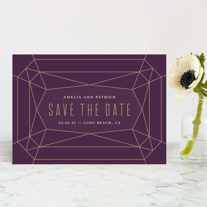 """Geode"" - Modern Save The Date Petite Cards in Amethyst by Rebecca Bowen."