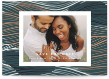 This is a green petite save the date by Kelly Schmidt called Tropical with standard printing on smooth signature in petite.
