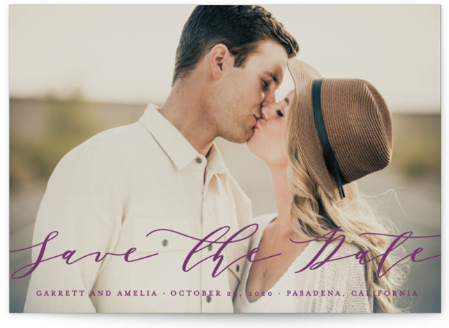 This is a landscape, portrait simple and minimalist, purple Save the Dates by Lehan Veenker called Flow with Standard printing on Smooth Signature in Petite Flat Card format. A simple full bleed save the date featuring beautiful flowing script.