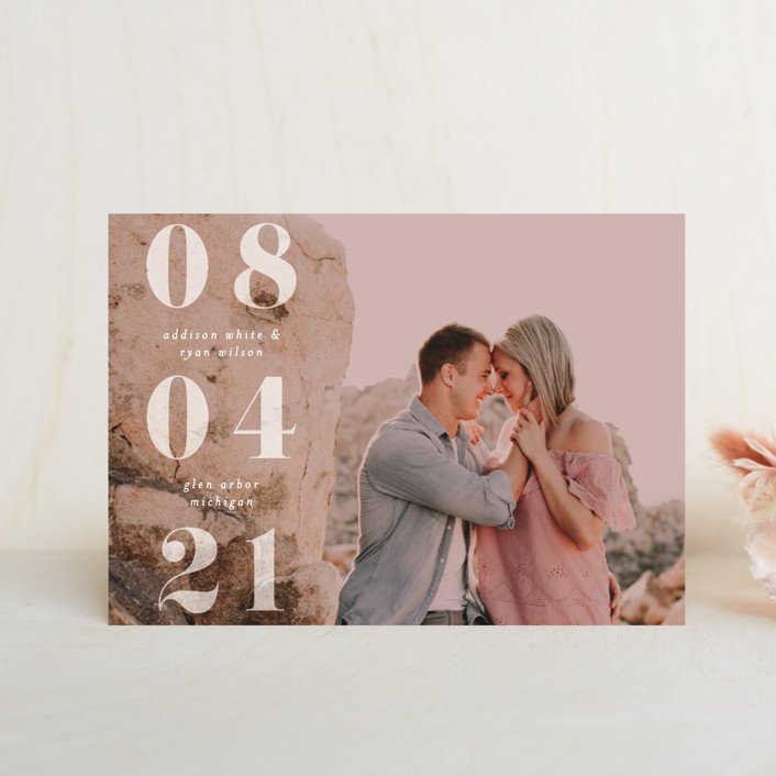 """We Found Love"" - Save The Date Petite Cards in Opal by Pixel and Hank."