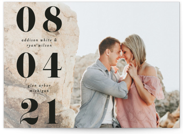 This is a bold and typographic, black Save the Dates by Pixel and Hank called We Found Love with Standard printing on Signature in Petite Flat Card format. A chunky font mixed with a subtle warm overly make this save ...