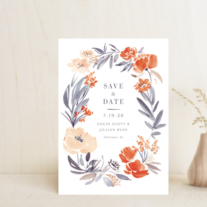 """""""Fancy Florals"""" - Save The Date Petite Cards in Hibiscus by Morgan Ramberg."""