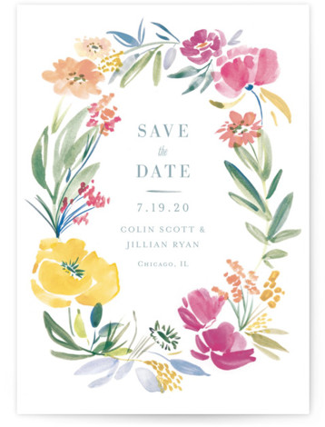 This is a portrait botanical, pink Save the Dates by Morgan Ramberg called Fancy Florals with Standard printing on Signature in Petite Fold Over (Message Inside) format. A Save the Date card featuring watercolor florals