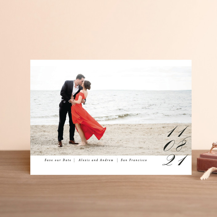 """Date in Script"" - Save The Date Petite Cards in Onyx by Angela Marzuki."