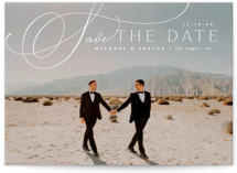 This is a white petite save the date by Everett Paper Goods called Trailing with standard printing on smooth signature in petite.