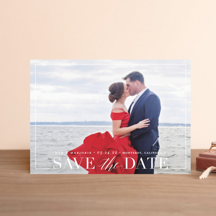 """Swell"" - Save The Date Petite Cards in Cotton by Jessica Williams."