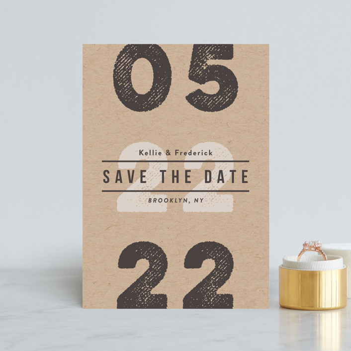 """""""Cognac"""" - Save The Date Petite Cards in Kraft by chocomocacino."""
