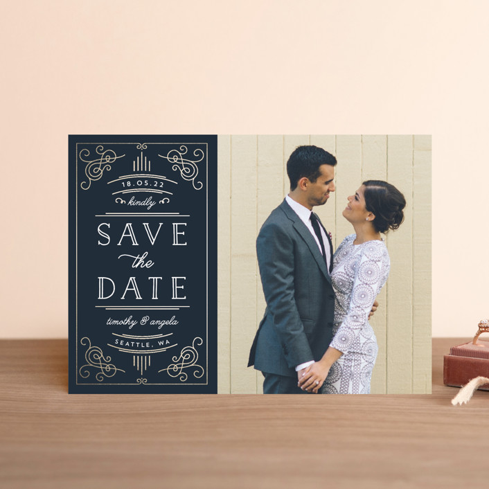 """Modern Deco"" - Vintage Save The Date Petite Cards in Navy by Kelly Schmidt."