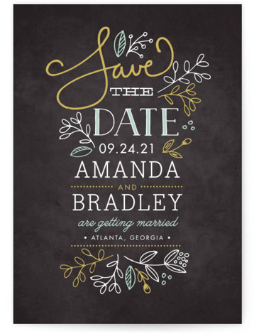 This is a portrait rustic, yellow Save the Dates by Jessica Williams called Garden Stack with Standard printing on Signature in Petite Flat Card format. Hand drawn florals, script, and a smattering of whimsical fonts create this elegant save the ...
