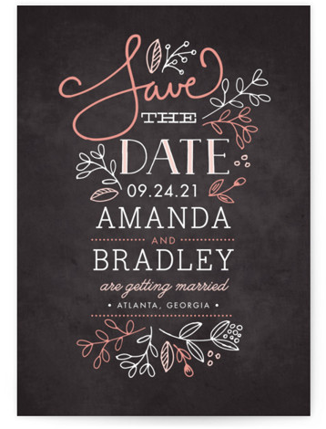 This is a portrait rustic, pink Save the Dates by Jessica Williams called Garden Stack with Standard printing on Signature in Petite Flat Card format. Hand drawn florals, script, and a smattering of whimsical fonts create this elegant save the ...