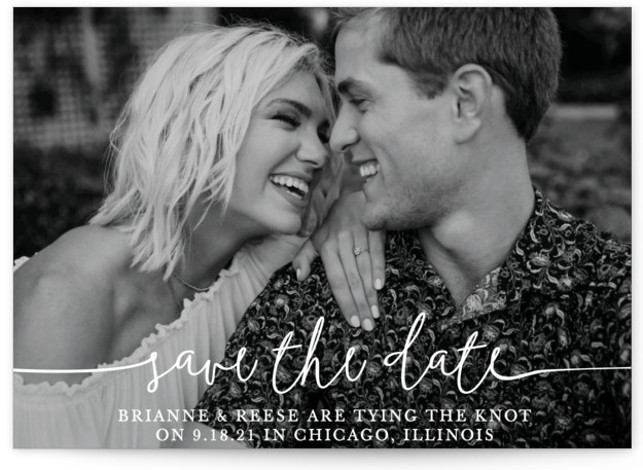 This is a landscape, portrait classic and formal, white Save the Dates by Christine Taylor called Boho Love with Standard printing on Signature in Petite Flat Card format. Announce your marriage with this classic boho, typographic, one photo card.