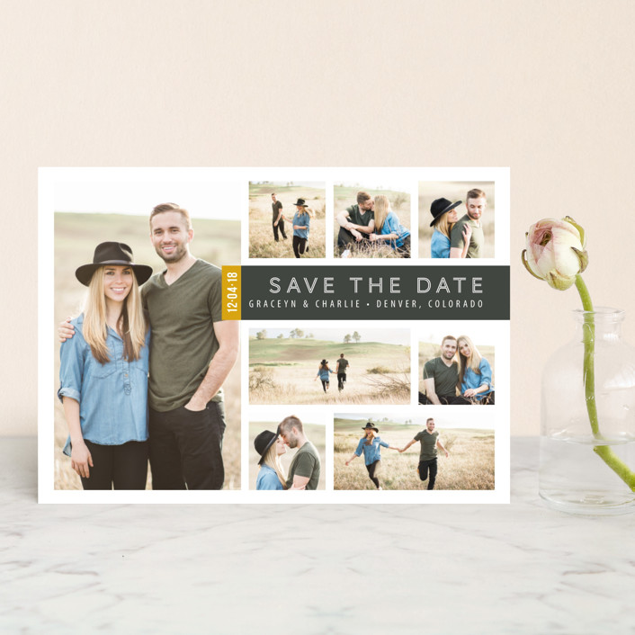 """""""A Collage for Two"""" - Modern Save The Date Petite Cards in Charcoal by Kimberly Morgan."""