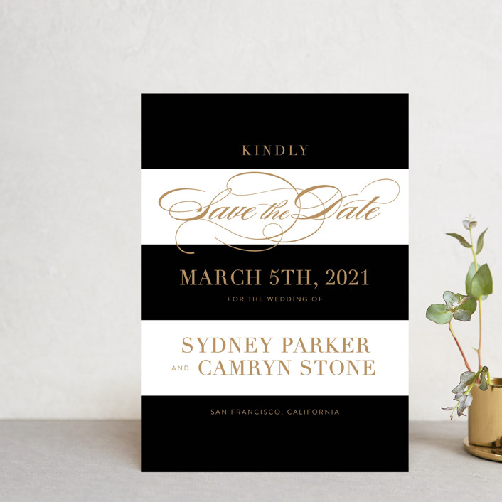 """""""Fashion District"""" - Save The Date Petite Cards in Black Tie by Jill Means."""