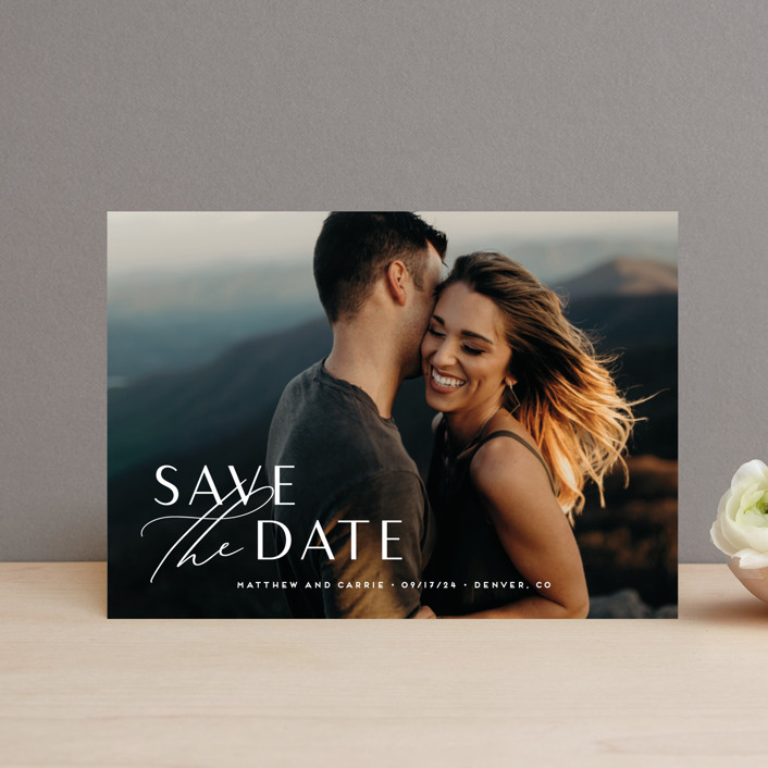 """""""Eloquent"""" - Save The Date Petite Cards in Pearl by Jennifer Postorino."""