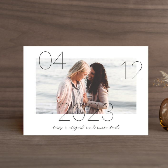 """""""Lucky Date"""" - Save The Date Petite Cards in Snow by Simona Camp."""