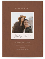 This is a brown petite save the date by Ekko Studio called Patina with standard printing on signature in petite.