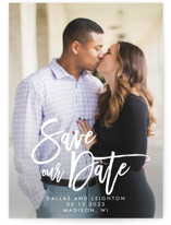 This is a white petite save the date by Catherine Culvenor called Scrawled with standard printing on smooth signature in petite.
