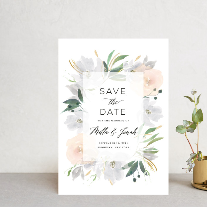 """Grande Botanique"" - Save The Date Petite Cards in Mist by Bonjour Paper."