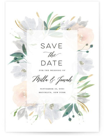 This is a botanical, painterly, grey Save the Dates by Bonjour Paper called Grande Botanique with Standard printing on Signature in Petite Flat Card format. A wedding invitation featuring a whimsical watercolor frame