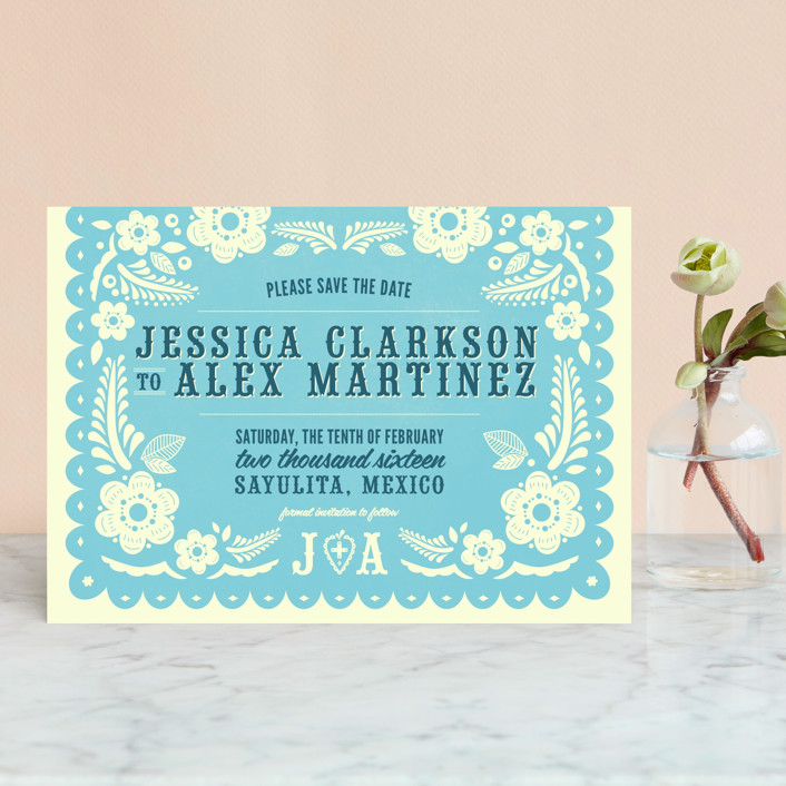 """Papel Picado"" - Save The Date Petite Cards in Poppy by Andres Montaño."