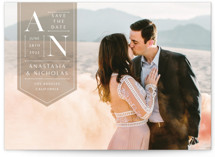 This is a brown petite save the date by Jennifer Lew called Modeco with standard printing on smooth signature in petite.