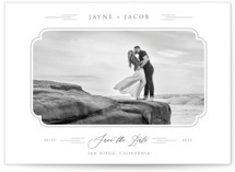This is a grey petite save the date by Paper Sun Studio called Windswept Deco with standard printing on smooth signature in petite.