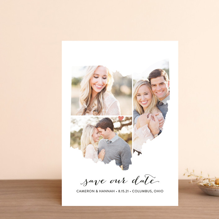 """""""Ohio Love Location"""" - Save The Date Petite Cards in Wedding Dress by Heather Buchma."""