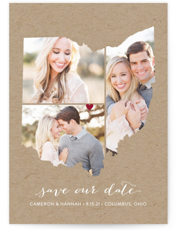 This is a portrait illustrative, brown Save the Dates by Heather Buchma called Ohio Love Location with Standard printing on Smooth Signature in Petite Flat Card format.