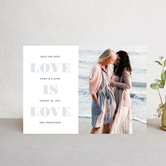 """Love is Love"" - Same Sex Marriage Save The Date Petite Cards in Mist by Susan Asbill."