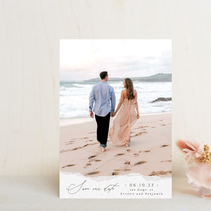 """""""Torn Texture"""" - Save The Date Petite Cards in Parchment by Everett Paper Goods."""
