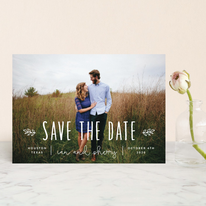 """""""Homegrown"""" - Bohemian Save The Date Petite Cards in Pearl by Sara Hicks Malone."""