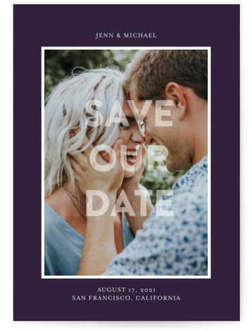 This is a bold and typographic, simple and minimalist, purple Save the Dates by Jessica Voong called In Love with Standard printing on Smooth Signature in Petite Flat Card format. A simple and minimal design featuring one photo.