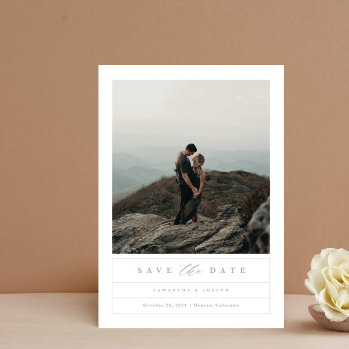 """Simple Grid"" - Save The Date Petite Cards in Fog by Kristen Smith."