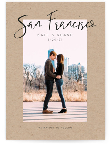 This is a bold and typographic, simple and minimalist, brown Save the Dates by Poi Velasco called City Love with Standard printing on Signature in Petite fold over (blank inside) format. Save the date that features the venue of the ...