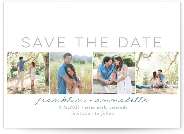 This is a landscape modern, grey Save the Dates by Sara Showalter called Simple Frames with Standard printing on Smooth Signature in Petite Flat Card format. A simple and clean save the date announcement that features four different photos of ...