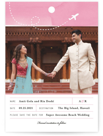 This is a portrait illustrative, pink Save the Dates by Four Wet Feet Studio called Destination Of Love with Standard printing on Signature in Petite Fold Over (Message Inside) format. A single photo destination save the date card