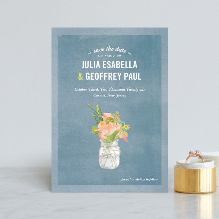 """""""Bouquet D'Amour"""" - Rustic Save The Date Petite Cards in Pacific Jade by Beth Ann."""
