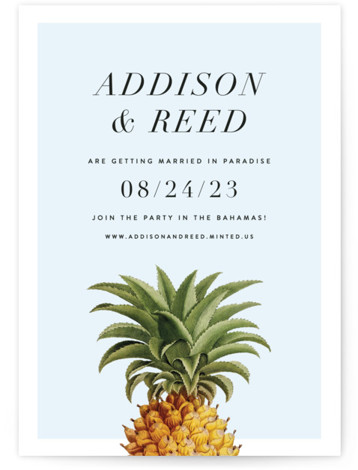 This is a portrait preppy, blue Save the Dates by Fig and Cotton called Party in Paradise with Standard printing on Signature in Petite Flat Card format. This modern take on a fun save the date for a destination wedding ...